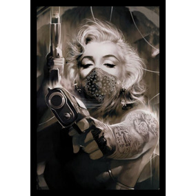 Quadro Decorativo Arte Marilyn Monroe Gangster Armas