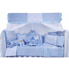 Kit Protetor De Berço Azul Bebê- 27 Peças 100% Algodão!