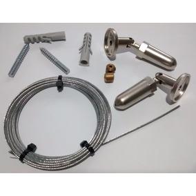 Kit Completo Barral Para Cortinas Tensor Cable De Acero Inox