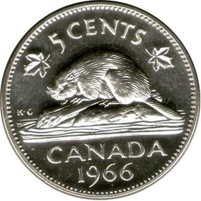 Spg Canada 5 Cents 1966 Elizabeth Ii Castor