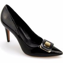Sapato Feminino Scarpin Couro Lux Detalhes Em Metal Dourado