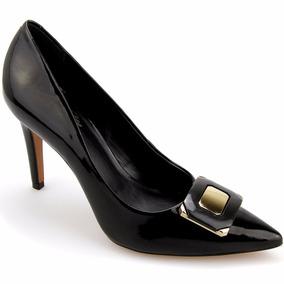 Sapato Feminino Scarpin Detalhes Metal Dourado Frete Grátis