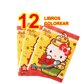12 Libro Hello Kitty Colorea Economico Juguete Piñata Cumple