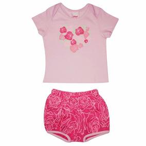 Pijama Bebe Feminino Blusa E Short Daya