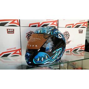 Casco Moto Azul Mate Abatible Kov Deportivo Certificado Ns