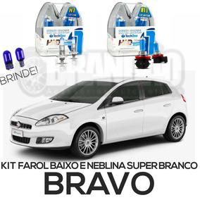 Kit Lâmpadas Super Brancas Fiat Bravo Farol Baixo E Milha