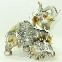 Elefante Resina Mamãe E Filhote Indiano Sabedoria Sorte
