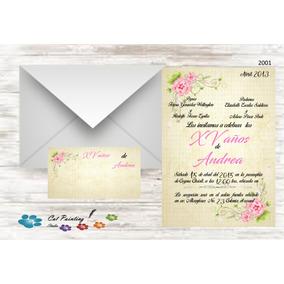 Fiesta Invitaciones Xv Años Imprimir Vintage Flores Rosas