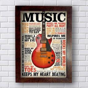 Quadro Decorativo Poster Music Com Moldura Marrom 40x30cm