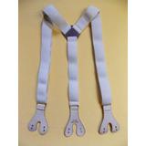 Tirador Pantalón Suspenders Doble Ojal Boton Plata Camel 3cm