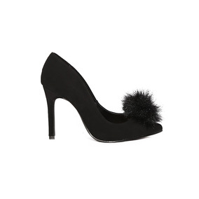 Trender Stiletto Negro Con Pompon Frontal 9310554