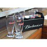 Kit Home Bar Budweiser Engradado 6 Tulipas Personalizadas