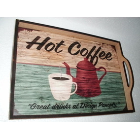 Bandeja Decorativa Hot Coffee Mdf 9 Mm - 41 Cm X 29 Cm 4986