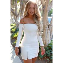 Moda Sexy Vestido Strapless Blanco Mangas Largas Con Cierre