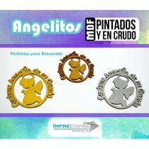 Figura Mdf 12cm Angel Para Colgar Decorativa Regalo Bautizo