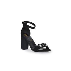 Trender Sandalia Color Negra Con Broche Decorativo 9170732