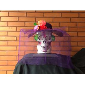 Preciosa Máscara De Catrina Con Sombrero Halloween