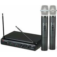 Microfone De Mão S/ Fio Duplo Pilha 2aa Kru302 Preto Karsect