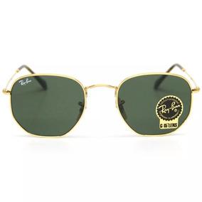 Óculos Ray Ban Rayban Hexagonal Armação Dourada Lente Verde