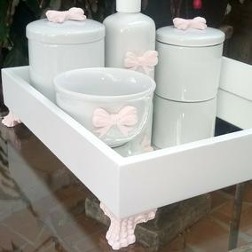 Kit Higiene Porcelana Lacinho Rosa Bandeja C/espelho Menina