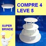 Suporte P/ Bolo 4 Andares Banquinho + Brinde Suporte 15 Cm