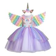 Vestido Unicórnio Infantil Luxo Glamour Lavanda Chifre Asas
