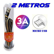 Cabo Usb Micro Usb 2 Metros 2a Android Carga Rápida