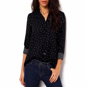Moda Asiatica Blusa Camisa Casual Gasa Polka Dot Tallagrande
