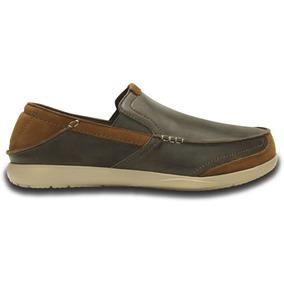 Zapato Crocs Caballero Walu Express Leather Loafer Chocolat