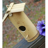 Casa Casita Para Pájaros Colgante De Bambú Con Pedestal