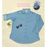 Camisa Materna Manga 3/4 Chambray Estampado Color Azul