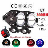 Par Faros Auxiliar Led Cree U7 3000 Lmw Ojos Angel + Switch
