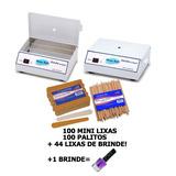 Estufa Esterilizador Manicure + 100 Mini Lixas + 100 Palitos