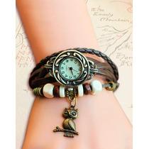 Relógio De Couro Vintage Pingente Coruja Frete 5 Reais