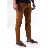 Calça Jeans Masculina Skinny Top Bege Caramelo Frete Grátis