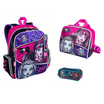 Kit Mochila + Lancheira + Estojo - Monster High Sestini