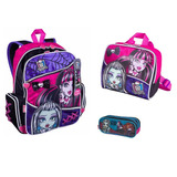 Kit Mochila G Monster High 15z Costas Cadarço Sestini Rosa