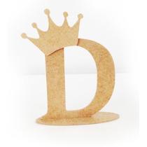 Letras Em Mdf Cru Com Base - 12cm - Promoção + Coroa Brinde