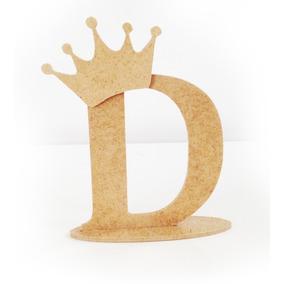 Letras Mdf Cru Com Base - 12cm - Promoção + 1 Coroa Brinde