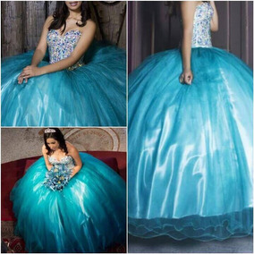 Vestido Xv Años Azul Turquesa T-s