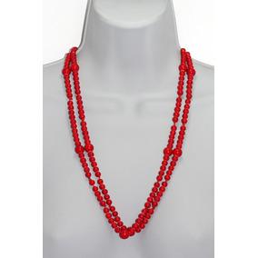 Collar Largo De Piedra Natural Agata Roja Ccpn235