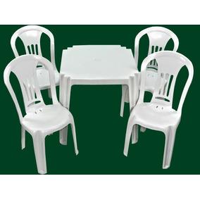 Jogo Mesa 4 Cadeira Bistro Plastico Resistente Bar + Brinde