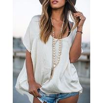 Blusa De Seda Chiffon Blanca Irregular Importada Usa Xxl