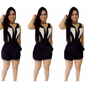Macacão Macaquinho Curto Feminino 3d Com Bolso