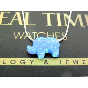 Collar Opalo Mineral Elefante Cadena Plata .925