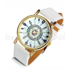 Reloj Pulsera Dama Vintage Plumas Indias Blanco Cuarzo Nuevo
