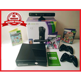 Xbox 360 2 Controle Kinect Na Caixa 3 Jogos
