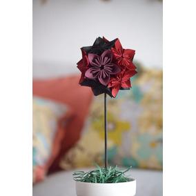 Centro De Mesa Topiario Flores De Papel Origami Decoración