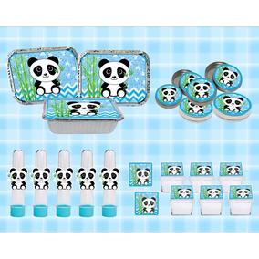 Kit Festa Infantil Panda Menino Azul 60 Peças