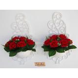 2 Arranjos Flores Rosas Vermelhas Artificiais Vaso Arandela